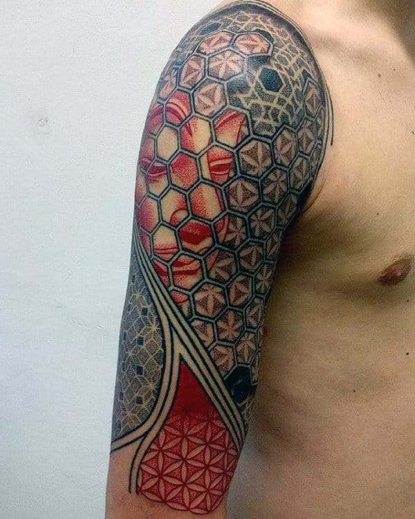 Half Sleeve Flower Of Life Tattoos For Men