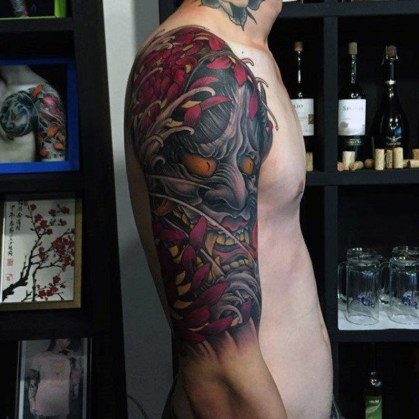 Half Sleeve Flower With Demon Mask Male Japanese Cover Up Tattoo Designs