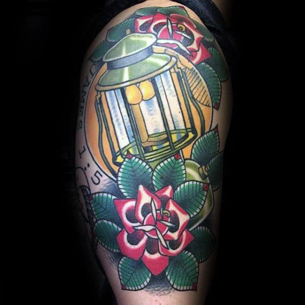 Half Sleeve Flowers With Traditional Lantern Guys Tattoo Designs