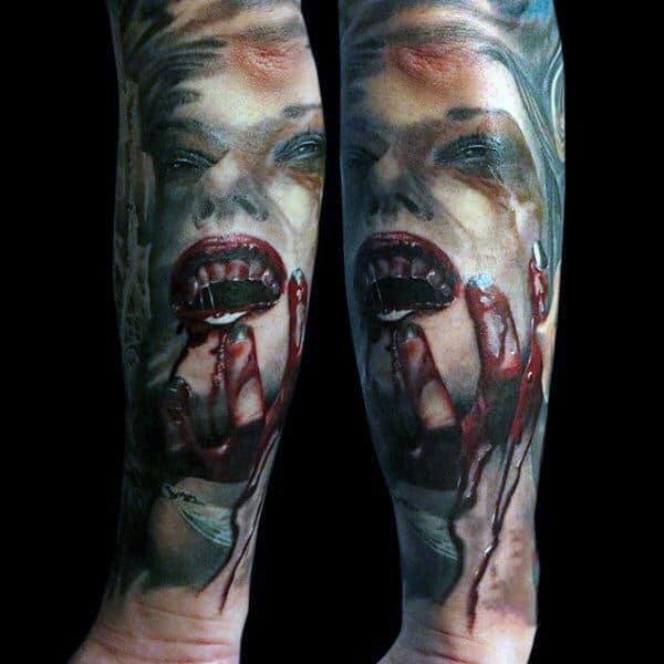 Half Sleeve Forearm Vampire Lips Tattoo For Men