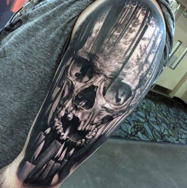 half-sleeve-forest-distinctive-male-skull-tree-tattoo-designs