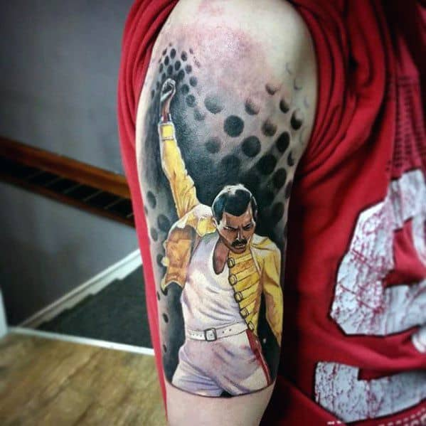 Half Sleeve Freddie Mercury Tattoos For Gentlemen