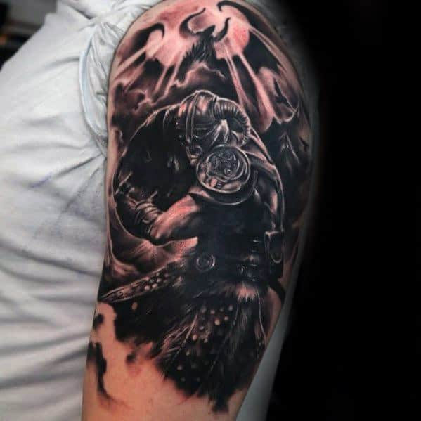 Half Sleeve Gamer Skyrim Tattoo Ideas On Guys