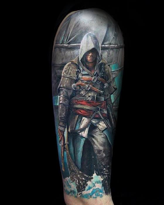 Half Sleeve Gamer Tattoo Designs For Guys