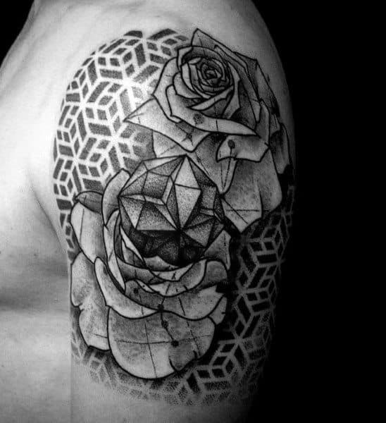 Half Sleeve Geometric Rose Pattern Tattoos For Men