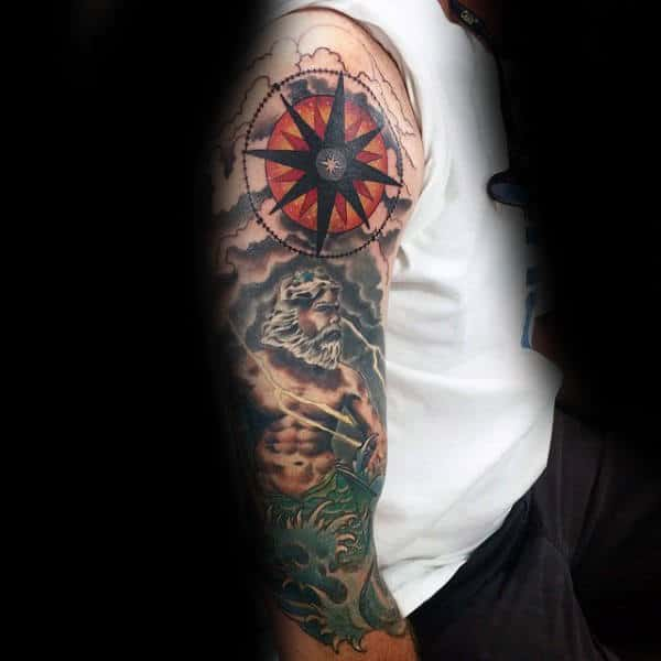 Half Sleeve Greek God Nautical Star Mens Tattoo Designs