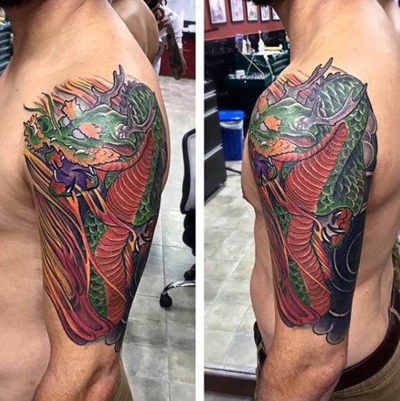 Half Sleeve Green And Red Ink Chinese Dragon Mens Tattoos