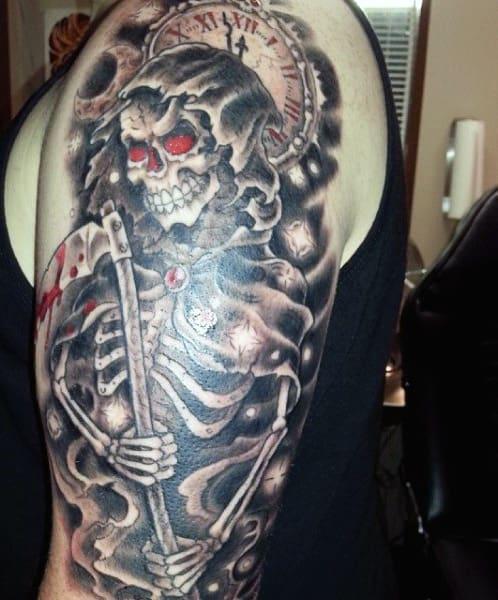 Half Sleeve Grim Reaper Men's Tattoo Designs
