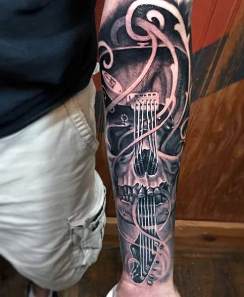 Half Sleeve Guitar Music Male Tattoos