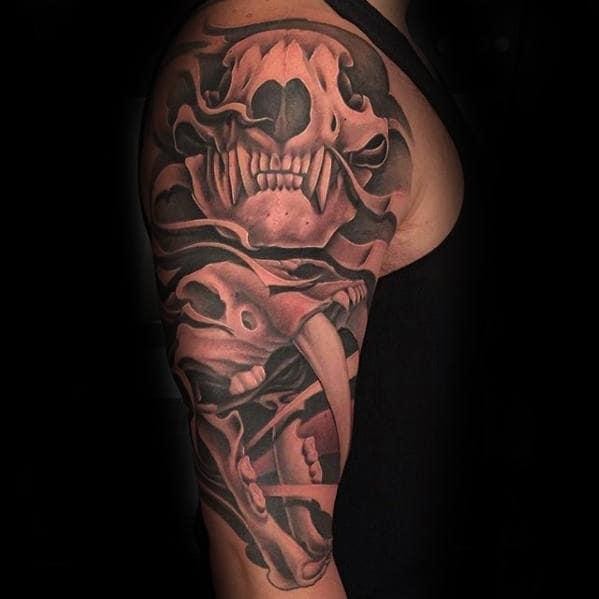 Half Sleeve Guys 3d Bear Skull Tattoo Deigns