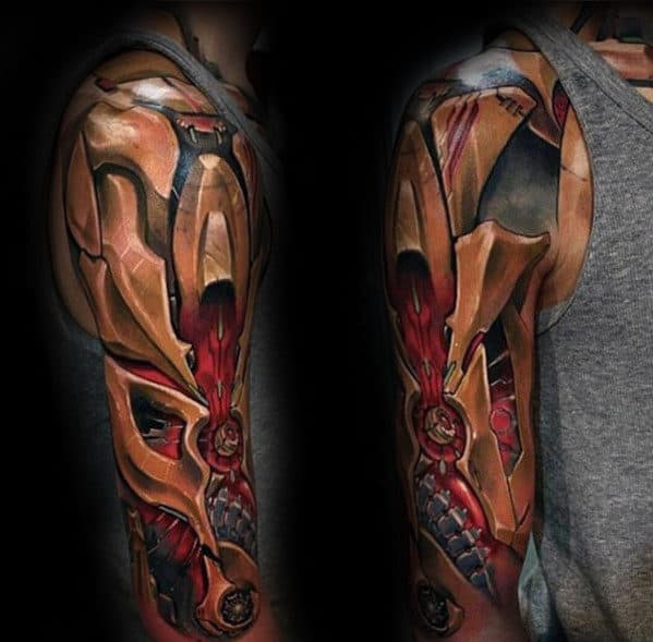 Half Sleeve Guys 3d Gold And Red Ink Gear Tattoo