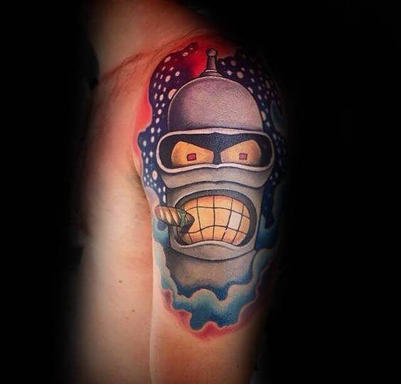 Half Sleeve Guys Angry Bender Robot Tattoo Design Ideas