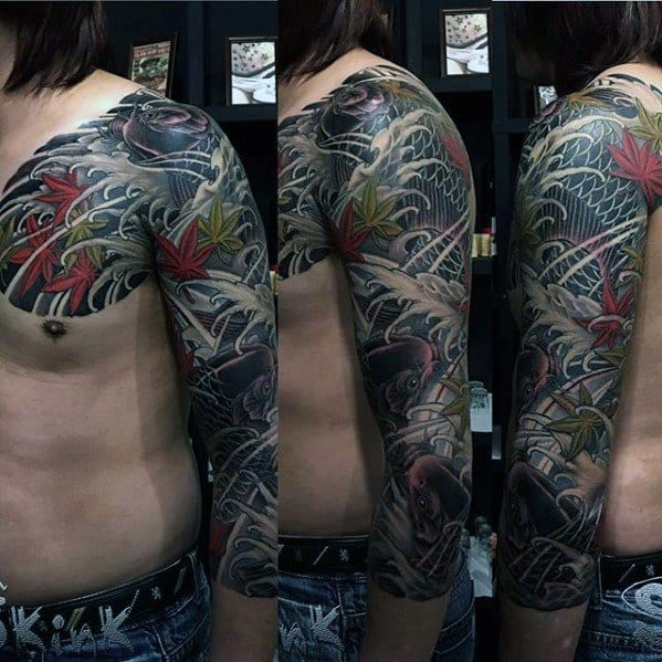 Half Sleeve Guys Cover Up Japanese Tattoo Design Ideas