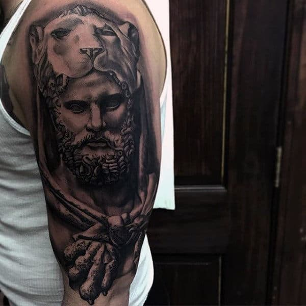 Half Sleeve Guys Hercules Lionskin Tattoo Ideas With Shaded Black And Grey Ink Design