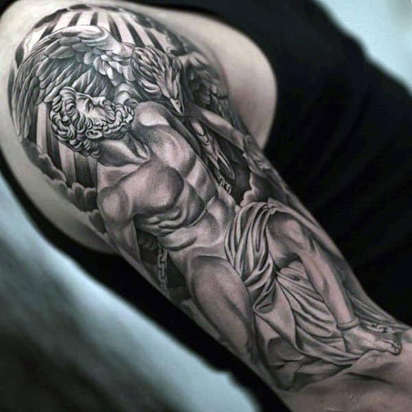 Half Sleeve Guys Hercules Tattoo Design Inspiration