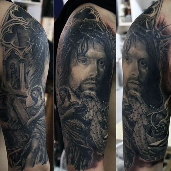 Half Sleeve Guys Jesus Angel Tattoo Designs