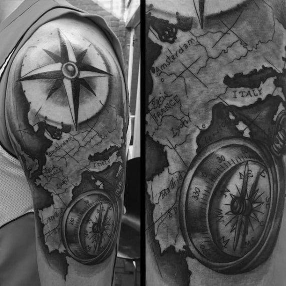 Half Sleeve Guys Map Wanderlust Themed Tattoo Ideas