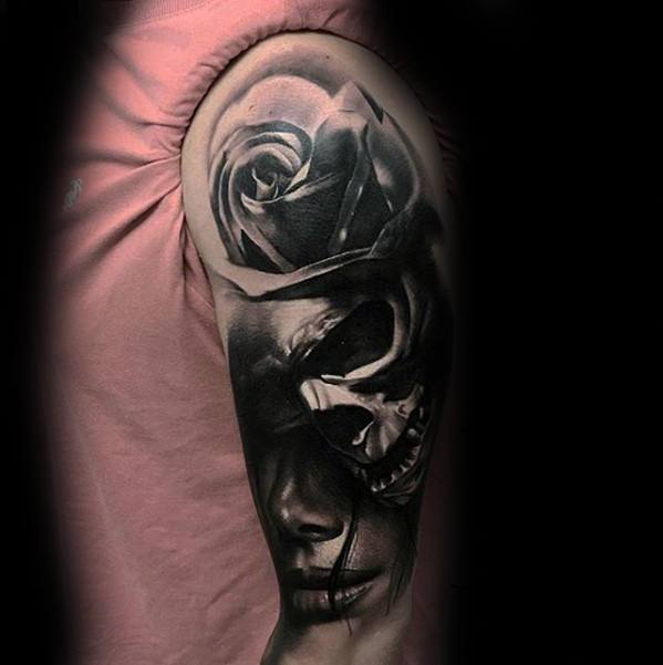 Half Sleeve Guys Morph Tattoo Design Ideas