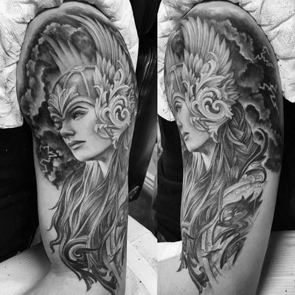 Half Sleeve Guys Norse Tattoos With Valkyrie Design