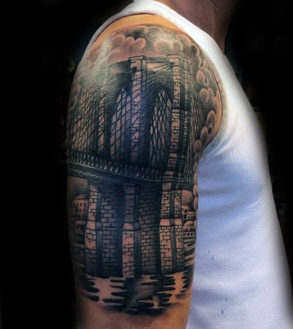 Half Sleeve Guys Old School Brooklyn Bridge Tattoo