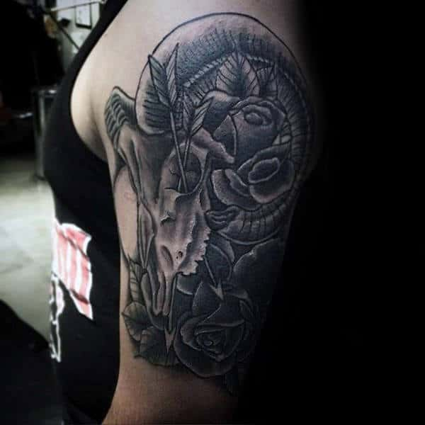 Half Sleeve Guys Ram Skull With Roses Aries Tattoo