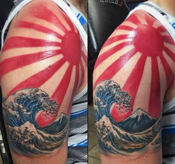 Half Sleeve Guys Rising Sun Japanese Ocean Waves Tattoo Ideas