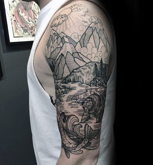Half Sleeve Guys River With Bear And Mountains Tattoos