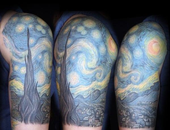 Half Sleeve Guys Starry Night Tattoos