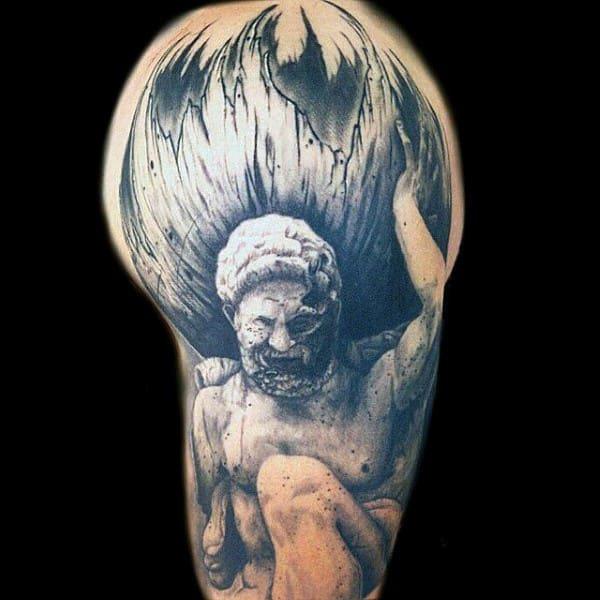 Half Sleeve Guys Stone Atlas Tattoo