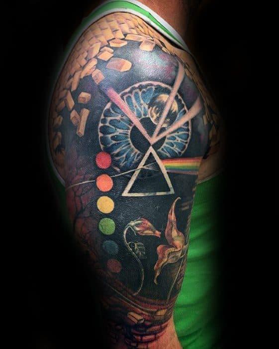 Half Sleeve Guys Tattoo Ideas Pink Floyd Designs