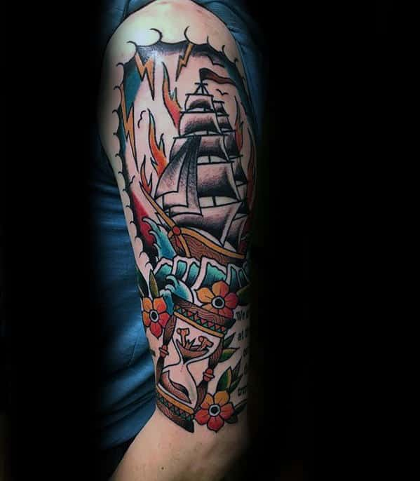 Half Sleeve Guys Traditional Hourglass Sailing Ship Tattoos