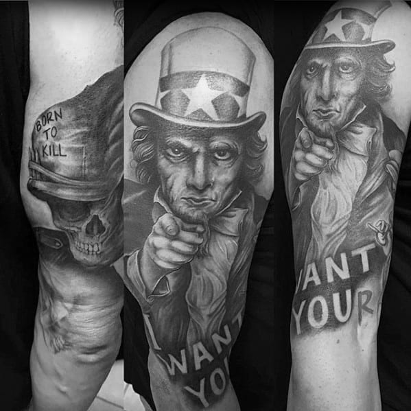 Half Sleeve Guys Uncle Sam Tattoo Designs