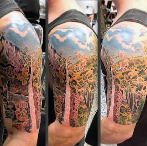 Half Sleeve Guys Waterfall Tattoo Design Ideas
