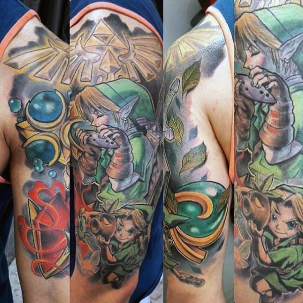 Half Sleeve Guys Zelda Tattoo Design Ideas