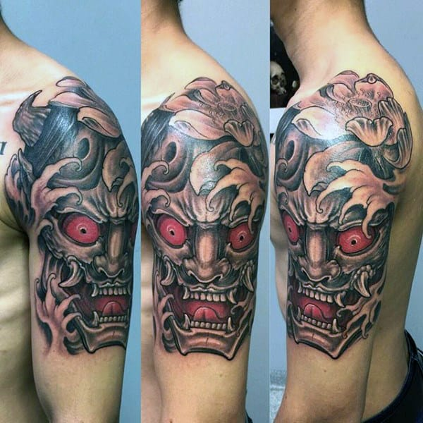 Half Sleeve Hannya Mask Male Tattoo Ideas