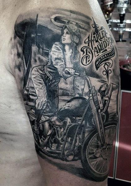 Half Sleeve Harley Davidson Guys Tattoos