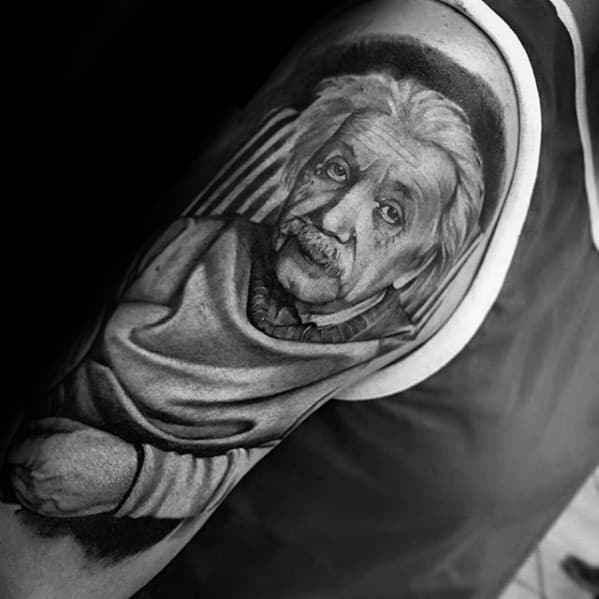 Half Sleeve Heavily Shaded Guys Albert Einstein Tattoo Design Ideas