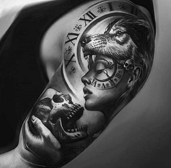Half Sleeve Hyper Realistic 3d Male Sick Wolf Tattoo Designs With Roman Numeral Clock And Skull