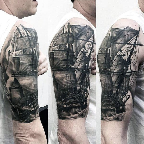 Half Sleeve Insane Sailing Ship Male Tattoos