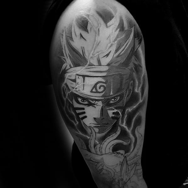 Half Sleeve Japanese Manga Series Naruto Tattoo Ideas On Guys