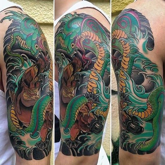Half Sleeve Japanese Platypus Male Tattoo Designs