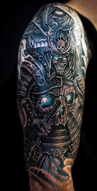 Half Sleeve Japanese Samurai Warrior Tattoo Designs Men