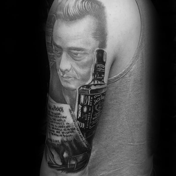 Half Sleeve Johnny Cash Tattoo Design On Man