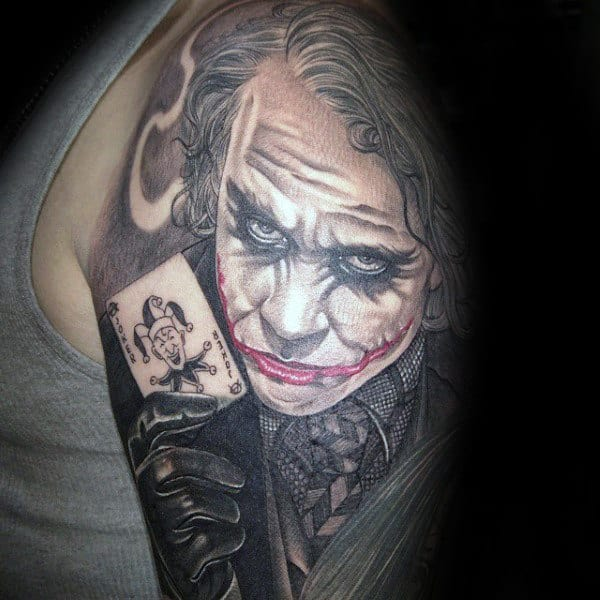 Half Sleeve Joker With Playing Card Tattoos For Guys
