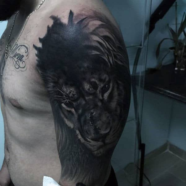 Half Sleeve Lion Mens Animal Tattoo Design Inspiration