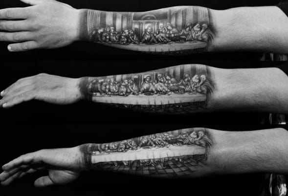 Half Sleeve Lower Forearm Last Supper Guys Tattoos