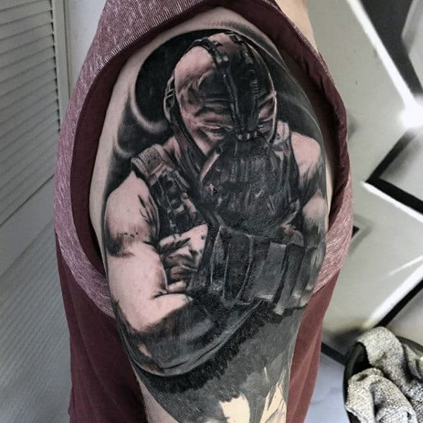 Half Sleeve Male Bane Superhero Tattoos