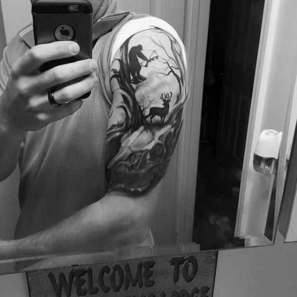 Half Sleeve Male Bowhunting Themed Tattoos
