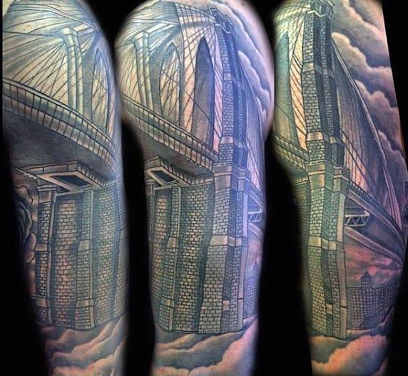 Half Sleeve Male Brooklyn Bridge Tattoo Designs