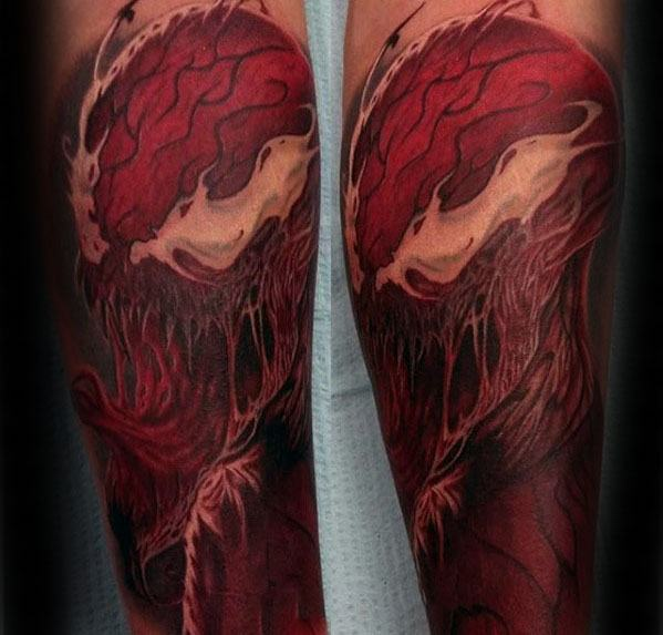 Half Sleeve Male Carnage Tattoo Design Inspiration